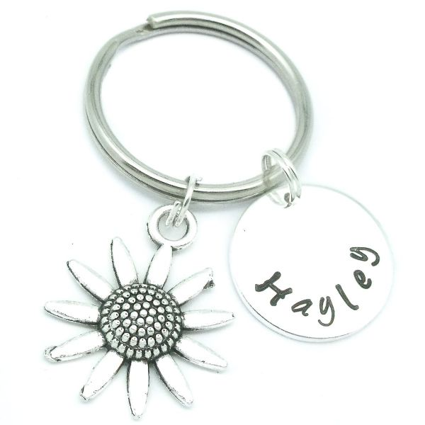 Daisy / sunflower gift keyring personalised name & birthstone